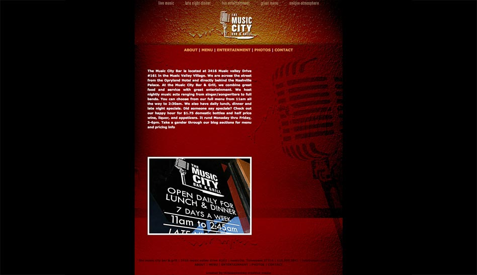 Website for Nashville Restaurant Music City Bar and Grill