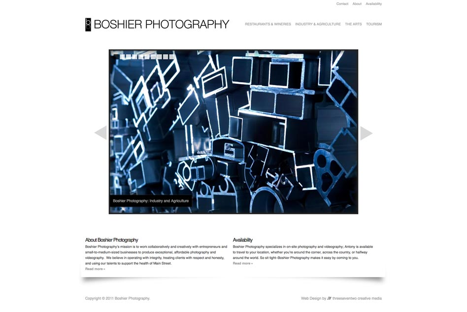 Web design for photographer Antony Boshier