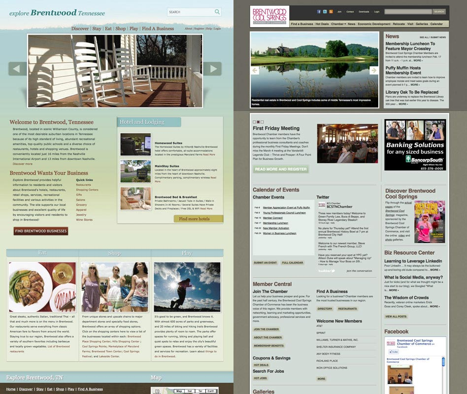 Web design for Explore Brentwood and Chamber of Commerce Brentood Cool Springs